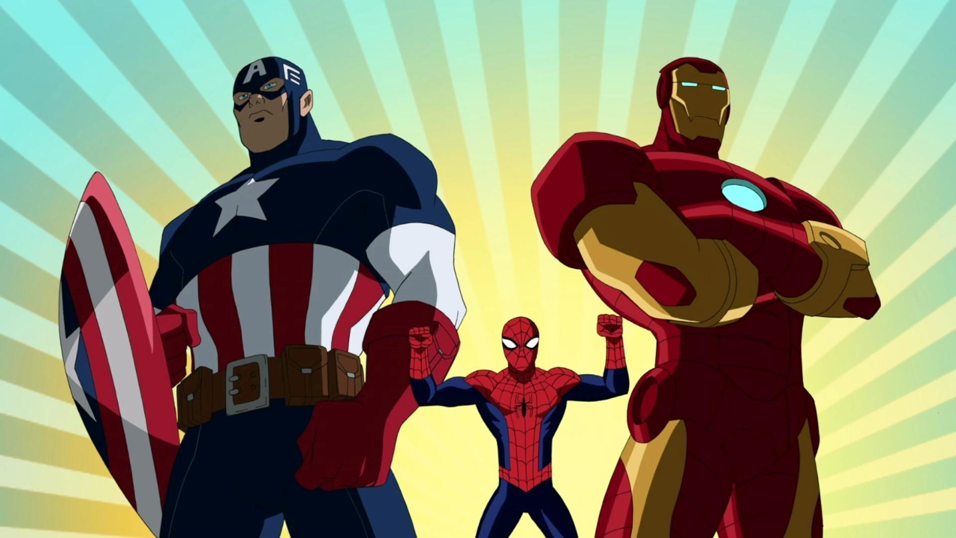 cartoons-captain-america-spider-man-and-iron-man-wallpaper-HD